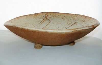 Magnificent MID CENTURY Modern ART Pottery BOWL Large HAND BUILT Freeform FOOTED