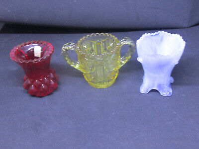 Antique Lot of Three Glass Toothpick Holders Blue Yellow and Red Assorted Design