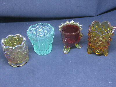Antique Lot of Three Glass Toothpick Holders Green Orange and Gold Assortment