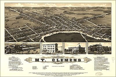 Poster, Many Sizes; Panoramic Map Mt. Clemens Michigan 1881