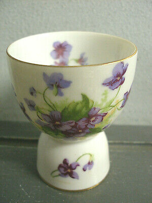 Vintage Lefton Porcelain China Hand Painted Double Egg Cup Purple Pansies Pansy