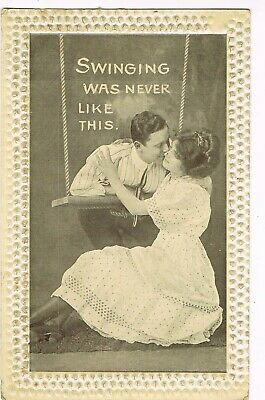 "ANTIQUE  ROMANCE Postcard       ""SWINGING WAS NEVER LIKE THIS"""