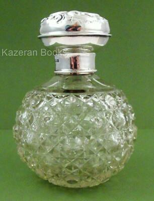 Antique Edwardian Chester Sterling Silver Topped Hobnail Glass Scent Bottle 1906