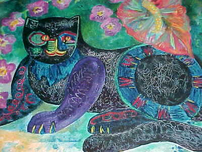 Nancy Nieto Oil-On-Canvas Painting Mexican-American Modern Art Surreal Black Cat