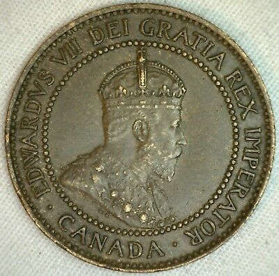 1908 Copper Canadian Large Cent Coin 1-Cent Canada AU K1