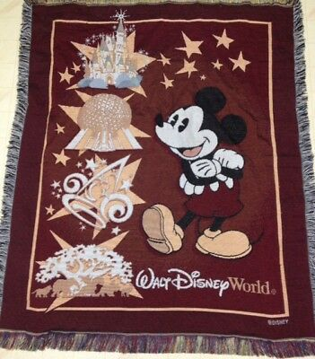 Walt Disney World TAPESTRY BLANKET Mickey Mouse Epcot 47x57 Woven Wall Decor T1