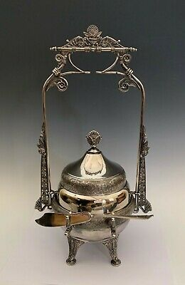 Antique Silverplate Aesthetic Movement Victorian Covered Butter Dish, St. Louis