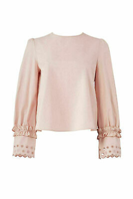 54a0d14c See By Chloe Pink Women's Size 8 Crewneck Long Sleeve Eyelet Blouse $285-  #097
