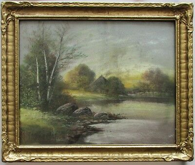 Antique American Pastel Painting Landscape in Arts and Crafts Style Gilded Frame