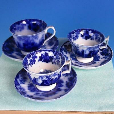 Scinde Alcock Flow Blue - 3 Handled Cup & Saucer - One Larger