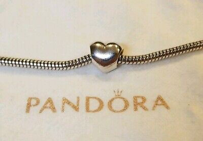 """Authentic~PANDORA~""""Big Smooth Heart"""" Charm-Sterling Silver #790137 GREAT COND!"""