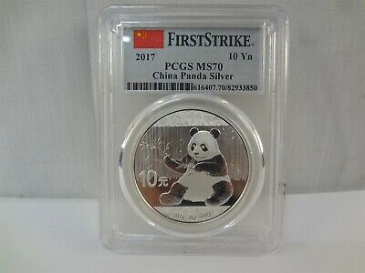 2017 PCGS First Strike MS70 Chinese Panda 10 Yuan 1 Oz. .999 Fine Silver Coin