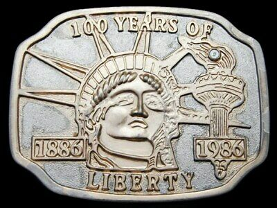 Kj19142 Vintage 1986 100 Years **Statue Of Liberty** Gold/Silver Belt Buckle