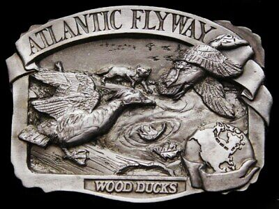 Ik11159 Vintage 1986 **Atlantic Flyway - Wood Ducks** Pewter Belt Buckle