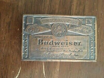 "Vintage 1970's ""Genuine Budweiser Lager Beer"" Adv Brass Belt Buckle"