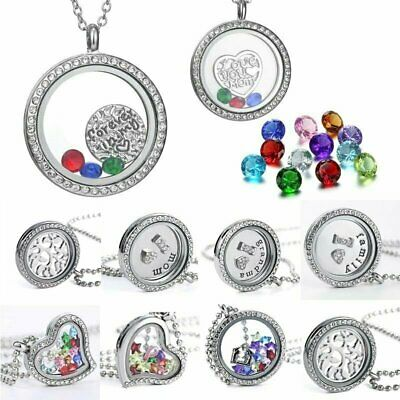 Floating Silver Crystal Glass Necklace Chain Charms Locket Family Living Memory