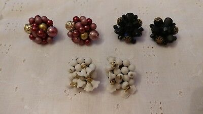 VINTAGE lot of 3 PAIR Pink Plum Black White CLUSTER BEAD Japan CLIP EARRINGS  e