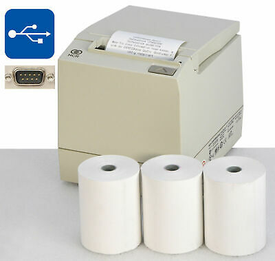 Receipt Printer Ncr7197 USB for Win XP 7 8 10 Power Suppl + 3 x Receipt Rolls