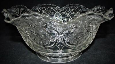 """Antique Upturned Gas Oil Lamp Shade Unusual Aztec Tiffin Mold Clear Glass 4"""" Rim"""