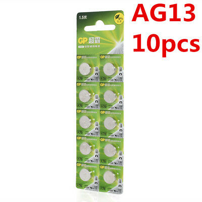 10pcs 1.5V GP LR44 AG13 A76 SR66 Button Cell Coin Battery Batteries