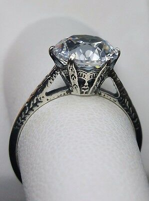 White Gem Sterling Silver Edwardian 1910 Design Filigree Ring [Made To Order]