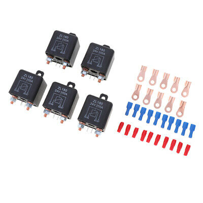 5X 200A 4-Pin Car Relay Switch Auto Winch Changeover Relay Socket Holder 24V
