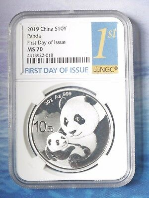 2019 China S10Y Panda First Day of Issue NGC MS70 30g