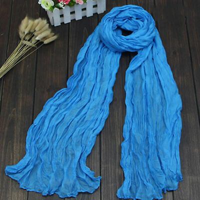 Colorful Women s Soft Wrinkle Long Crinkle Scarf Shawl Candy 9 Colors Faddish
