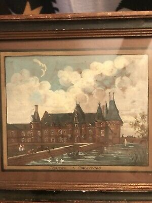 Antique Early French Painting Miniature Chateau De Maintenon Victorian?