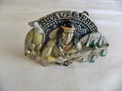 (G) BRAVE & FREE Belt Buckle - Pewter Colored 1993 GAP Made