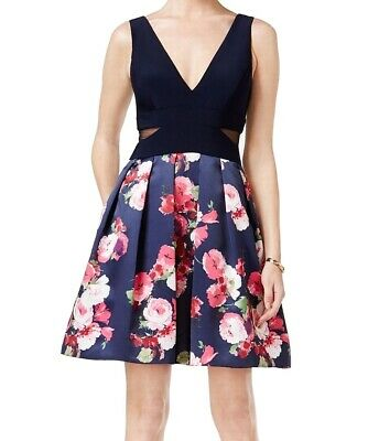 409acfd2 Xscape NEW Navy Blue Pink Floral Print Womens 2 Fit Flare A-Line Dress $189