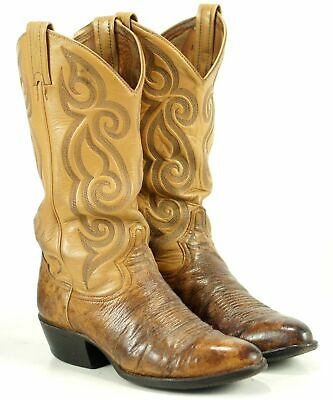 a9feaf4194f TONY LAMA DISTRESSED Brown Smooth Ostrich Cowboy Boots Vintage US Made  Men's 7.5