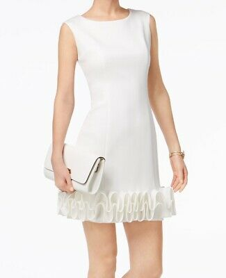 afb2646129e Donna Ricco NEW White Women s Size 10 Ruffle Hem Scuba Sheath Dress  99-   238