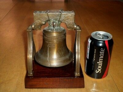 [1776] LIBERTY BELL AMERICAN REVOLUTION, Wooden Base Metal Statue / Paper Weight