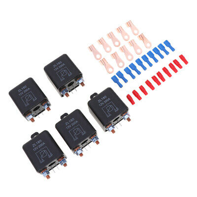 5X 200A 4-Pin Car Relay Switch Auto Winch Changeover Relay Socket Holder 12V