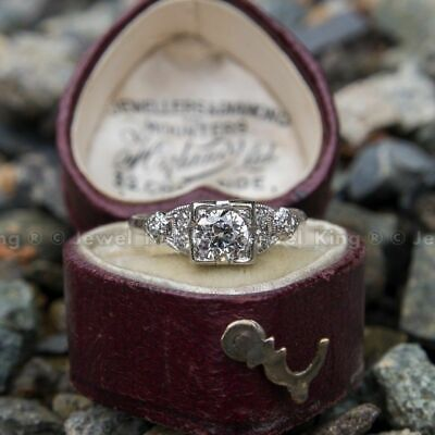 Antique Art Deco 0.53 Ct Round Diamond Vintage Old Engagement Ring 14K Gold Over