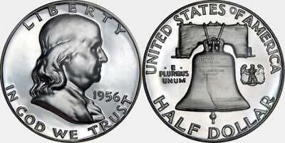 1956 Pr Franklin Half Dollar Proof Gem Bu Uncirculated Silver Coin Mint State Pf