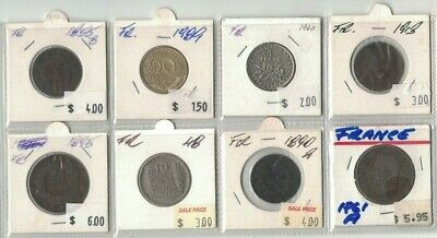 1855 to 1948 France 8 coins, on clearance