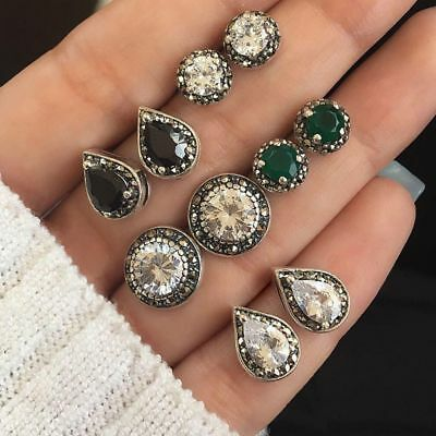 5 Pairs/Set Stud Earrings Cubic Zirconia Water Drop Green Black Gemstones