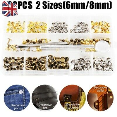 180 Set Leather Double Cap Rivets Tubular Metal Studs Fixing Tool Kit Punk Craft
