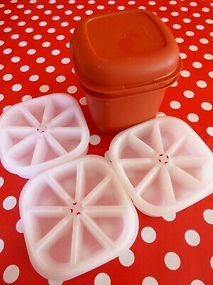 Vintage TUPPERWARE Ice Bucket in Terracotta with Lid & 3 Ice Cube Trays