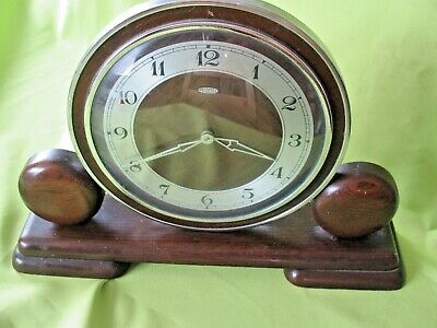 Old  antique vintage art deco wood & chrome Metamec  mantle clock