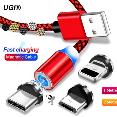 1~2M Braided USB Magnet Quick Charger Data Charging Cable Lead For iPhone 6s 7 8