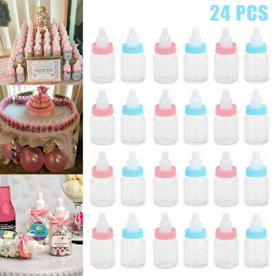 24 Blue Pink Fillable Bottle for Baby Shower Favors Party Decoration Girl Boy