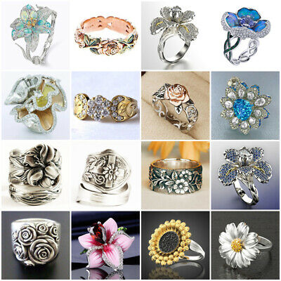 Exquisite14KRose Gold Flower Ring Vintage 925 Silver Hollow Wedding Band Jewelry