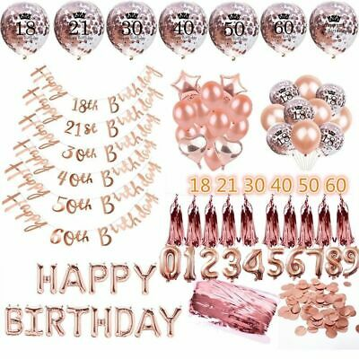 Rose Gold Happy Birthday Balloons Bunting Banner 18/21st/30/40/50/60 Party Decor