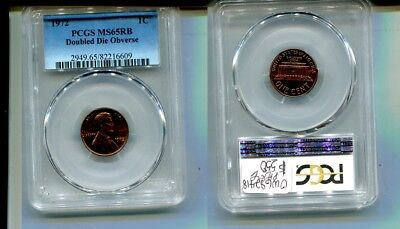 1972 Lincoln Head Penny Double Die Coin Pcgs Ms65 Rb 6433L