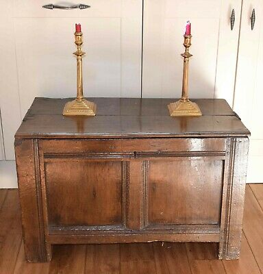 Unusually small rare antique English panelled joined oak coffer chest  c1690 box