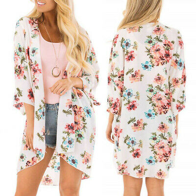 a249886f92f9b Women Floral Print Chiffon Beach Kimono Cardigan Blouse Shawl Loose Top  Outwear