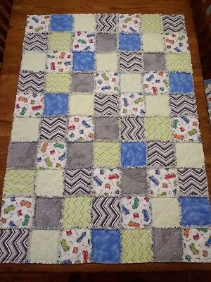 NEW! Crib size handmade FLANNEL rag QUILT blue & gray Perfect gift for baby boy!